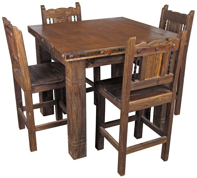 Square Rustic Wood Counter Height Bistro Table With 4 Stools Rustic Farmhouse Table Dining Table Design Bistro Table