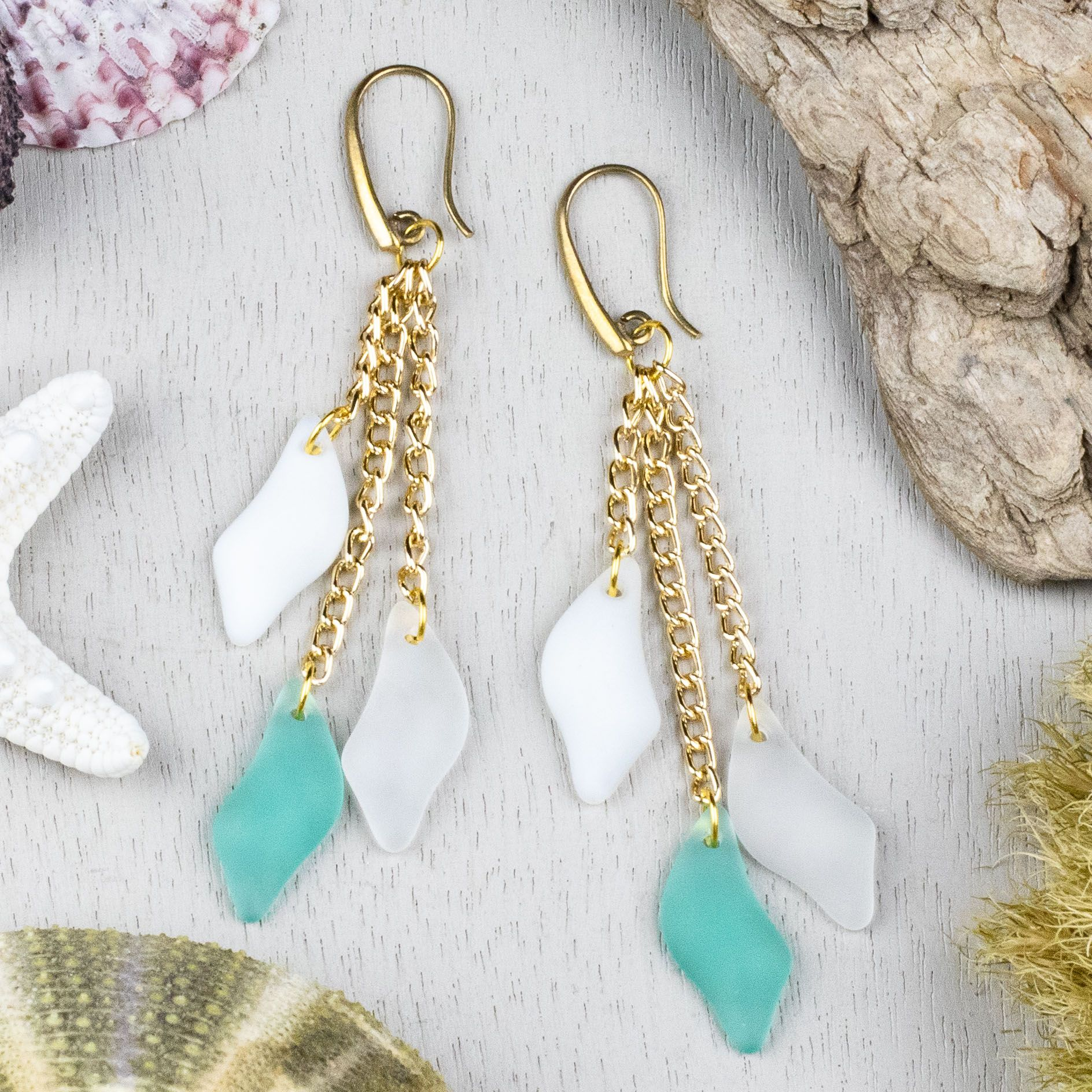 Starfish Charm and Tumbled Sea Beach Glass with Turquoise Pearls Drop Earrings Handmade Dangle