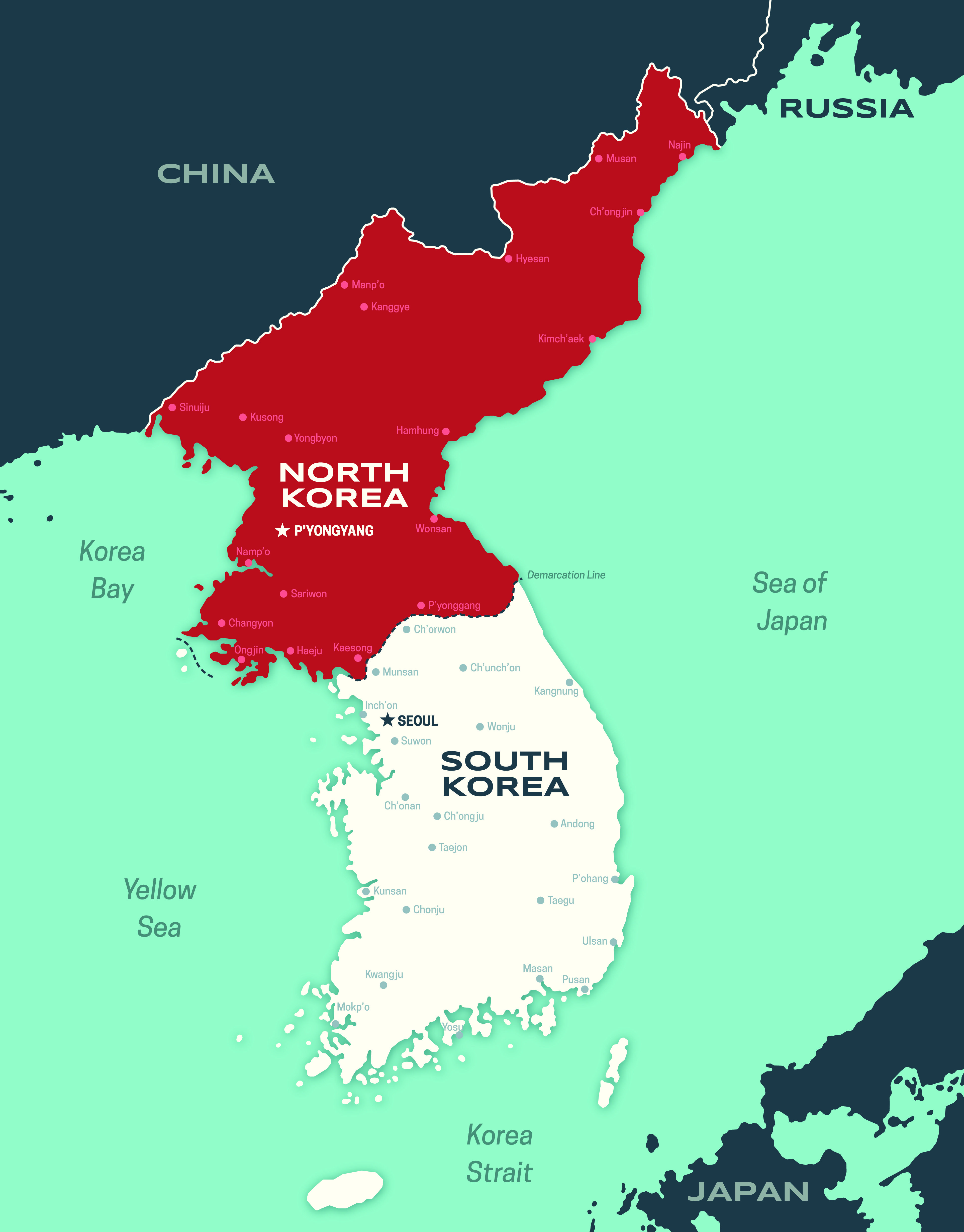 Korean Peninsula Map Map of the Korean peninsula including North and South Korea