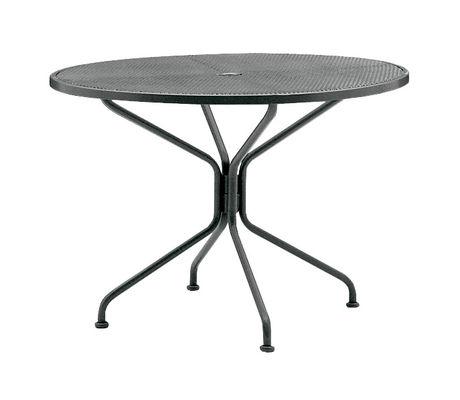 Wrought Iron Premium Mesh Top Rta Table 42 Round Umbrella Table