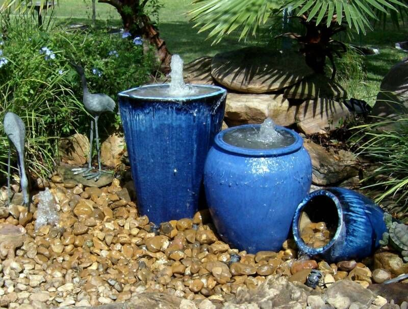 Pondless water feature with urns herb garden pinterest for Pot water feature ideas