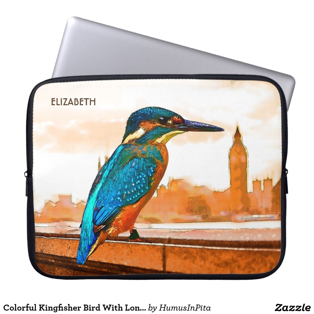 Colorful Kingfisher Bird With London Skyline Laptop Sleeve
