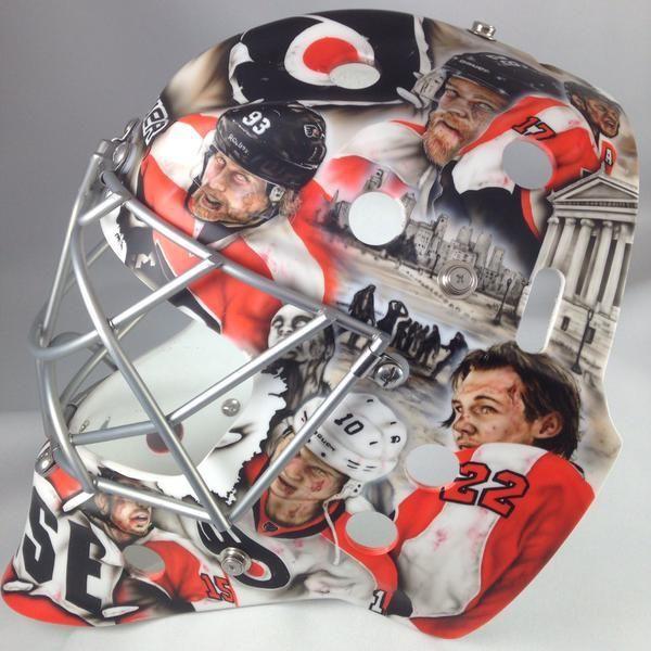 Steve Mason S New Mask Features Zombified Broadstreet Bullies Flyers Teammates Photos In 2020 Flyers Players Flyers Hockey Goalie Mask
