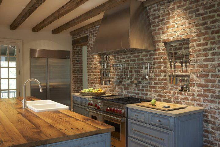 Charmant Brick Wall Kitchen U0026 Wood Countertop!