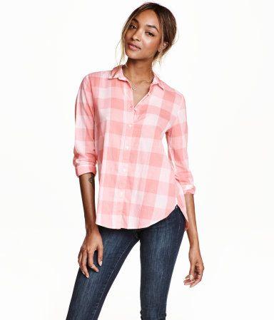 Camisa de algodón   Rosa claro/cuadros   Mujer   H&M MX