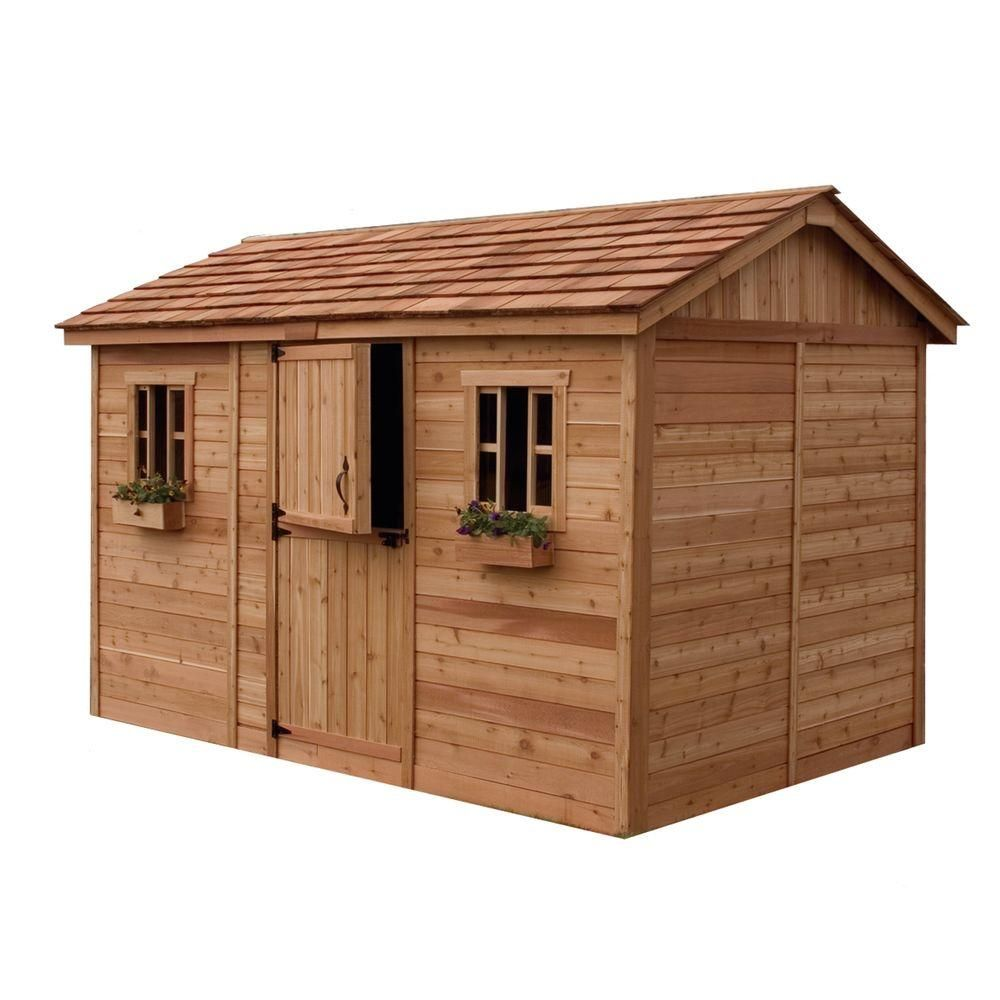 cabana 8 ft x 12 ft western red cedar garden shed brownstans