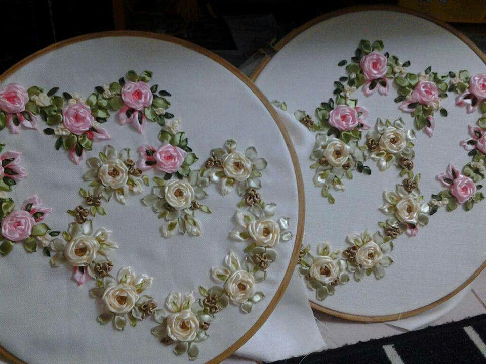 Bastidores con flores de tela | Lindas Manualidades | Pinterest