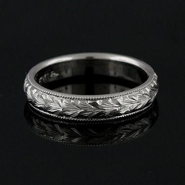 Hand Engraved Vintage Style Mens Wedding Band 6mm Wide Platinum