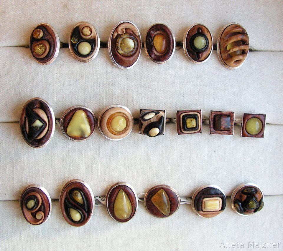 Unique handmade rings Amber Wood Silver by AmberSculpture.deviantart.com on @deviantART