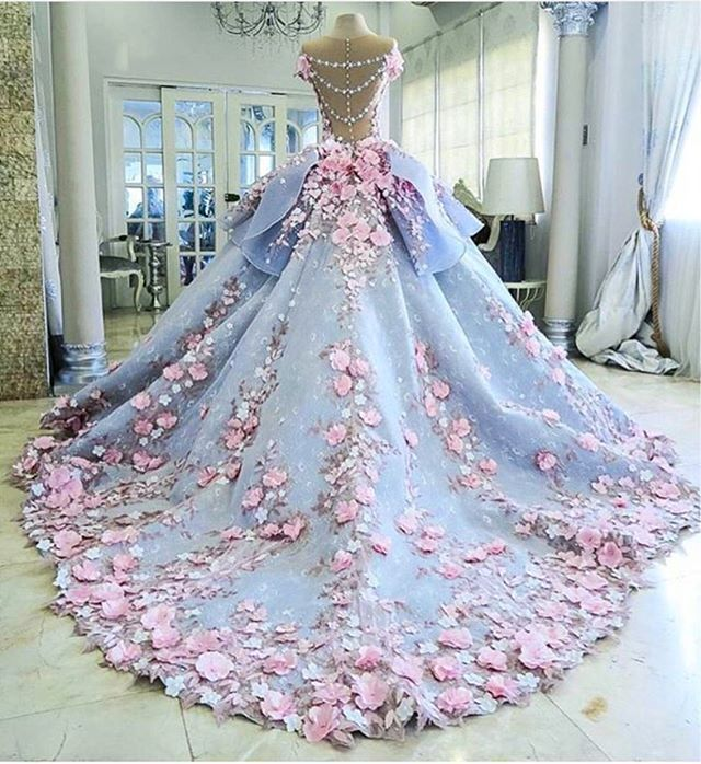 Beautiful Fairy Tail Wedding Dress Blue Fl Accent Flowers Pink
