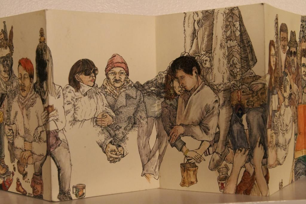Chris Russell - 4 years of drawing people on the nyc subway system.  done in accordian books.