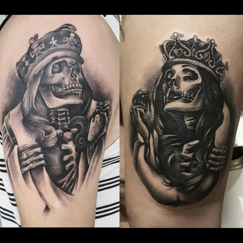 King and Queen Couple Tattoo | Queen tattoo, Partner ...