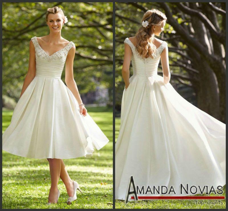 Elegant Cream Color Tea Length Wedding Dresses With Strap Mrilee 04