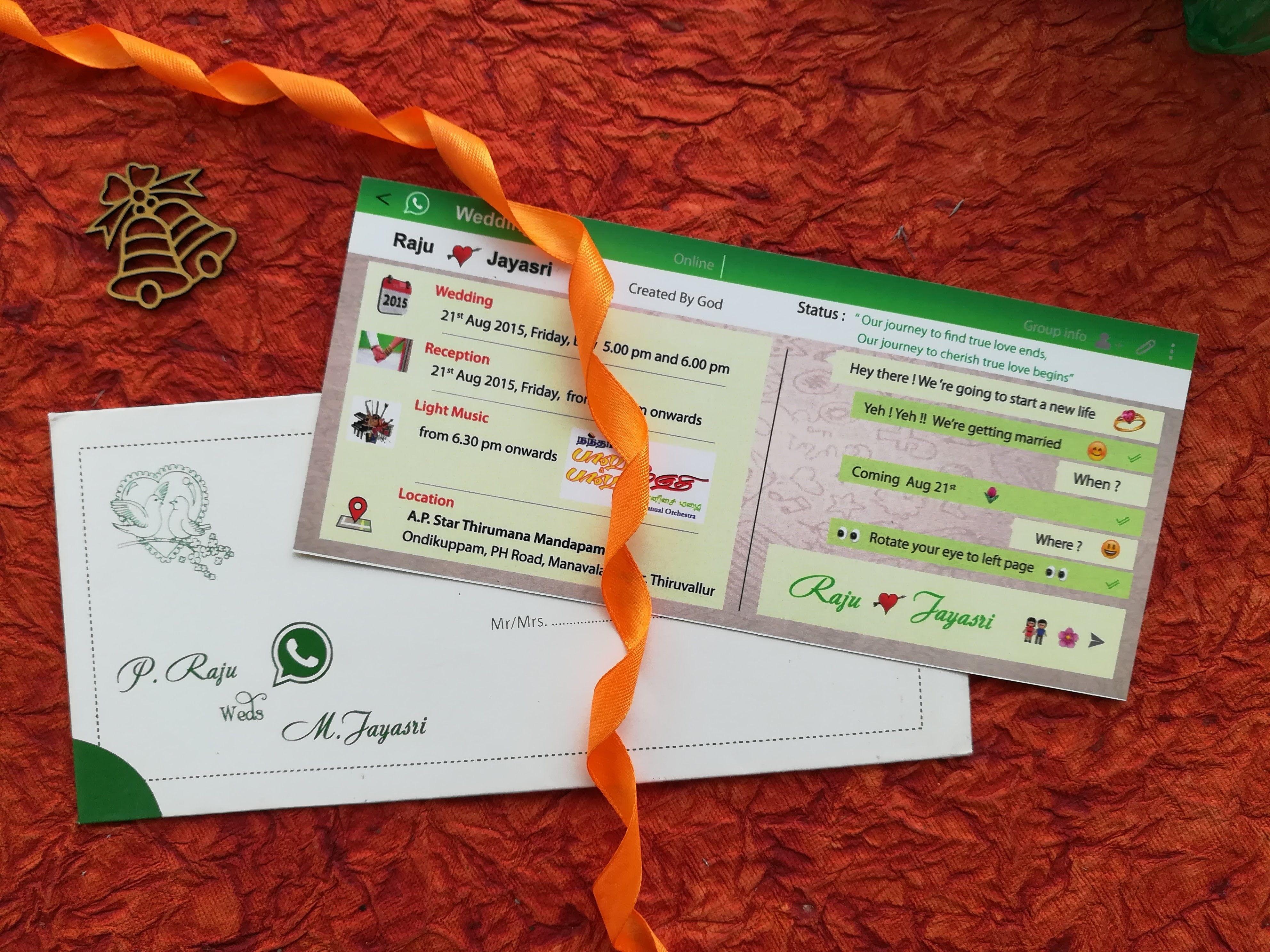 Quirky Whatsapp theme invite from the creative design team