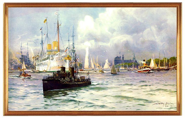 Deutsches Reich, Kiel Hafen 1909, Gemälde W. Stöwer