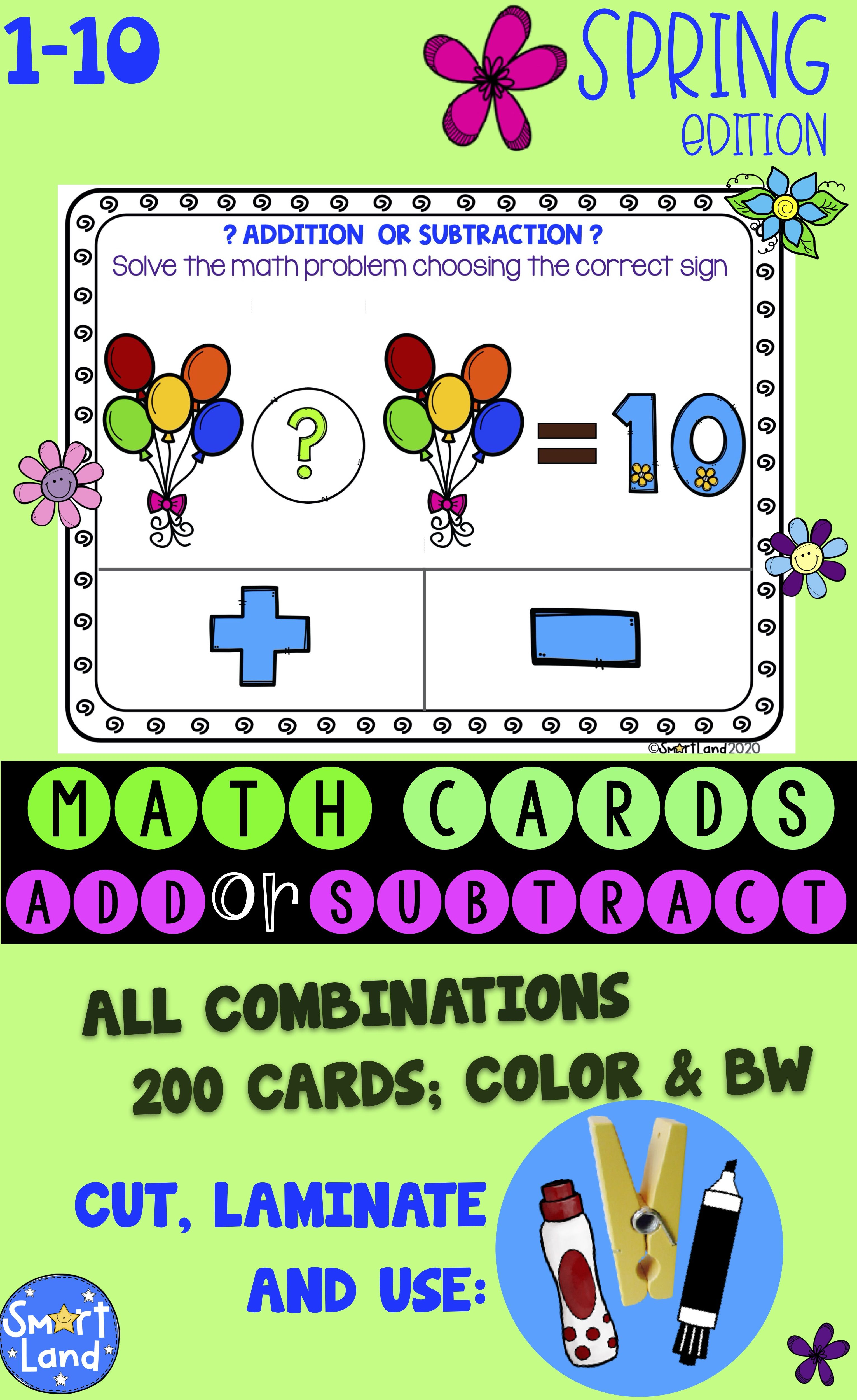 Math Cards Add Or Subtract Spring