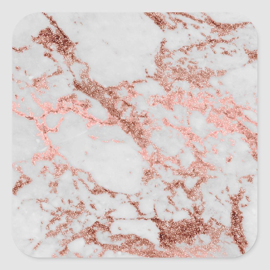 Modern faux rose gold glitter marble texture image square sticker | Zazzle.com