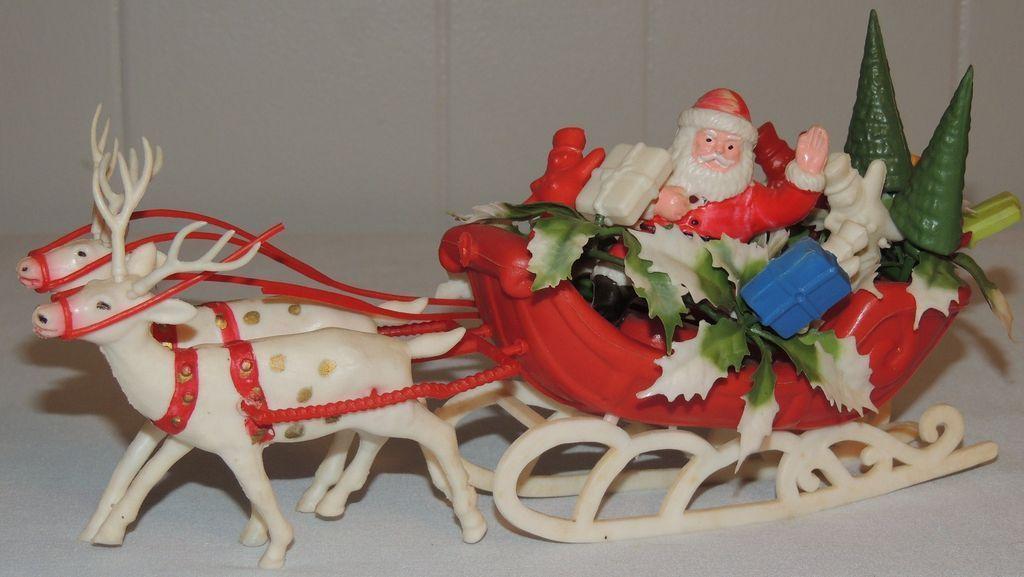 Vintage Molded Plastic Christmas Santa Sleigh Reindeer Retro Christmas Vintage Christmas Decorations Vintage Christmas