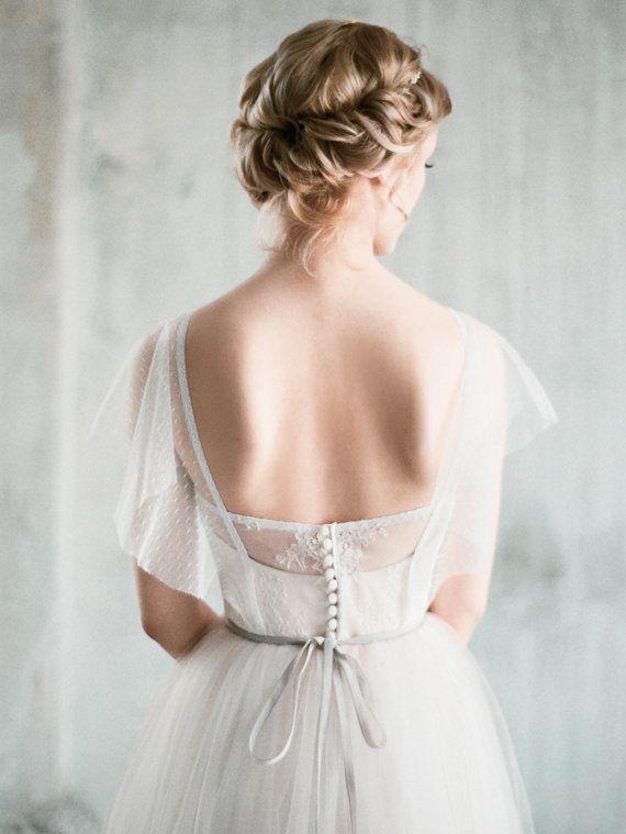 Amur - weißen Tüll Boho Brautkleid mit Ärmeln, Schatz geformt ...