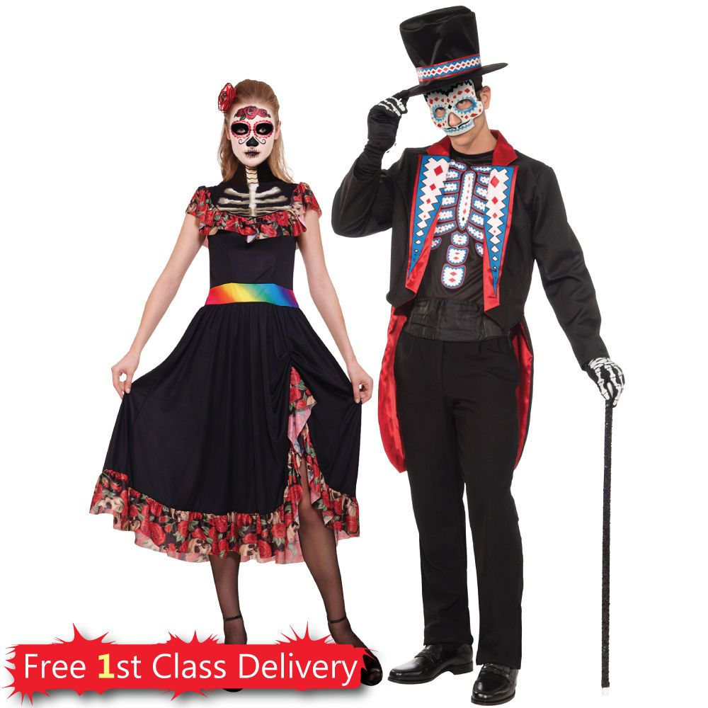 Day Of The Dead Lady Couples Costume Mens Halloween Fancy