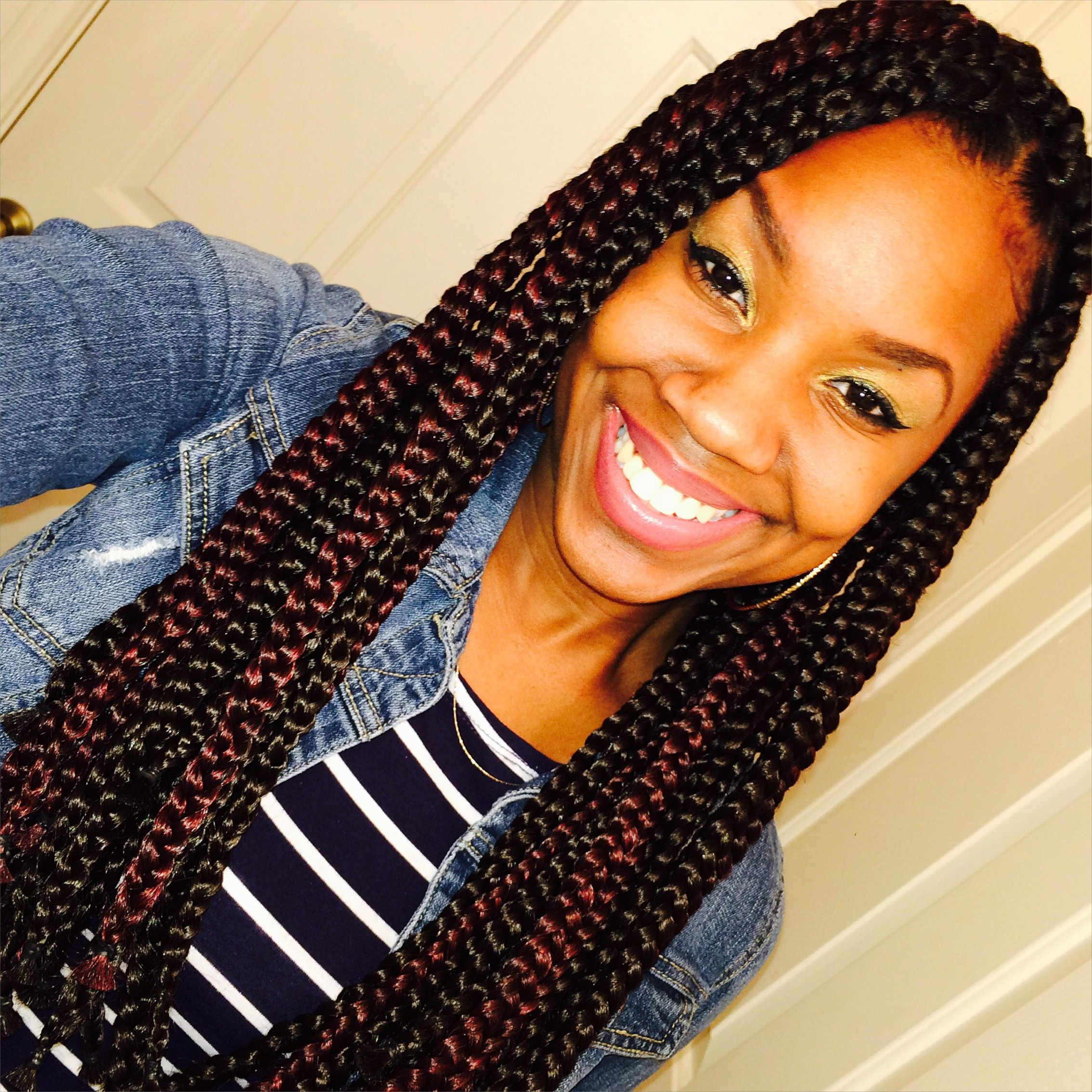 Medium Box Braids Black And Burgundy Mix