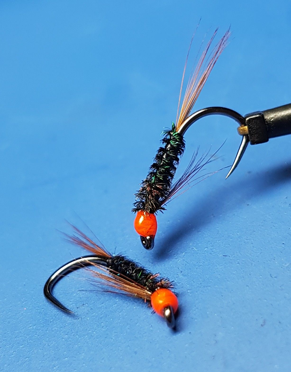 Diawl Bach Blue Holograpic With Red Hot Head Size Trout Grayling Fishing Flies