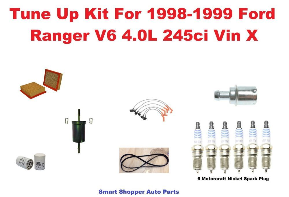 Tune Up Kit For 98-99 Ford Ranger Serpentine Belt Spark Plug Wire ...