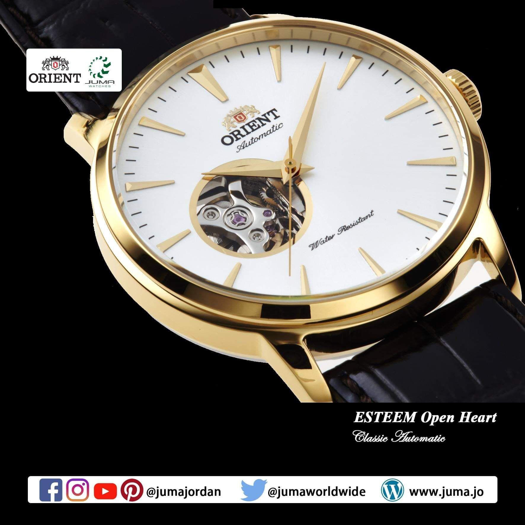 Orient Esteem Open Heart Mechanical Contemporary Watch Leather Strap 41 0mm Case Orientwatches Orie Contemporary Watches Watches For Men Womens Watches
