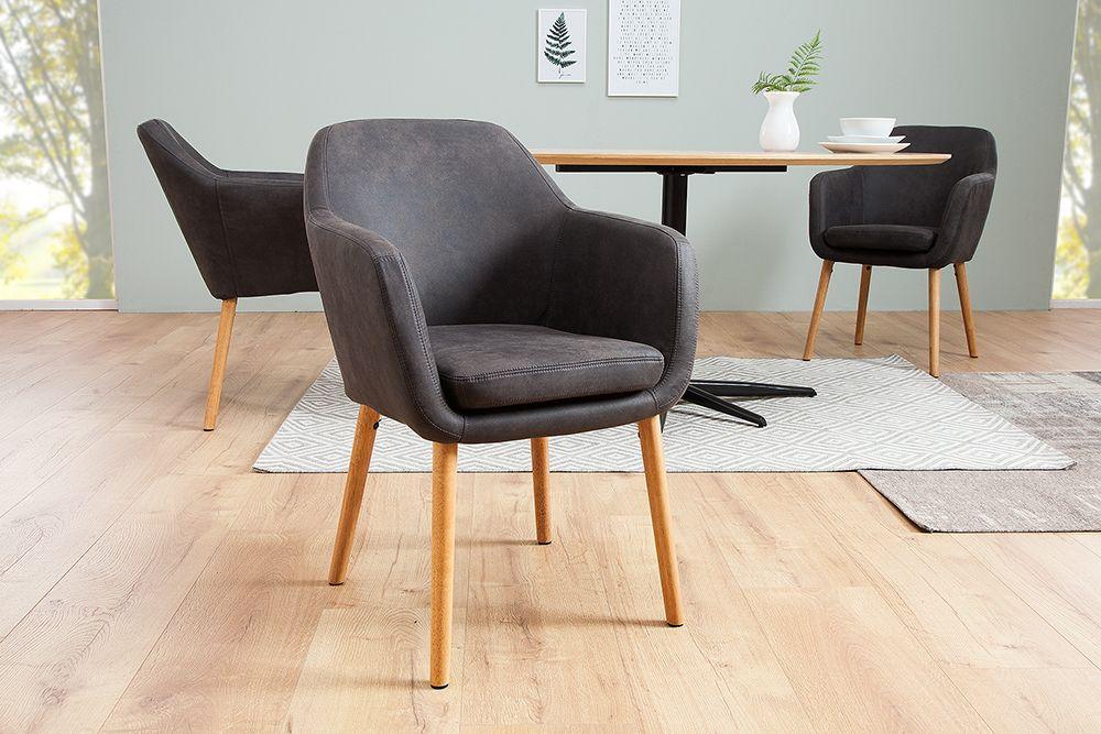 Design Armlehnstuhl SUPREME vintage grau Massivholzbeine Stühle