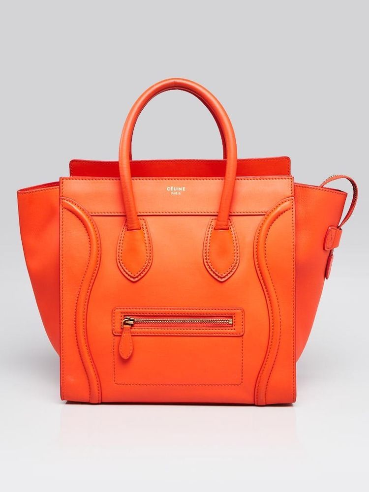 8a928ae170 Celine Orange Smooth Calfskin Leather Mini Luggage Tote Bag  Celine   EverydayBags Totes