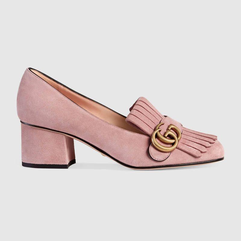 bab64daa9f2 Gucci Femme - Escarpins. Escarpins à talon moyen en veau velours Marmont  rose clair 550€