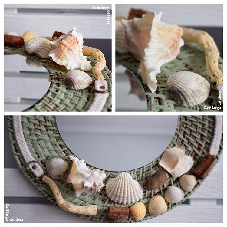 Espejo con conchas caracolas y palos ideas de reciclaje for Ideas decoracion reciclaje