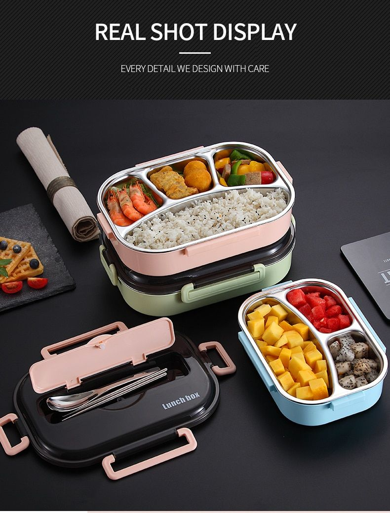 Worthbuy Japanese Kids Lunch Box 304 Stainless Steel Bento Lunch