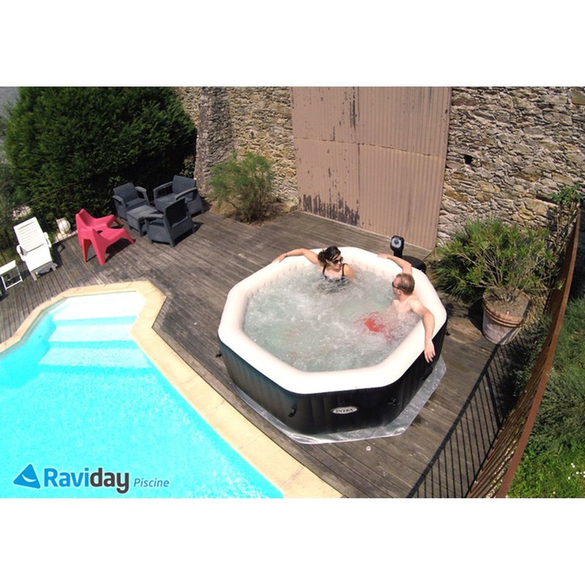 Spa Gonflable Purespa Octogonal Bulles Jets 4 Places Intex Taille Tu Spa Intex Spa Jacuzzi
