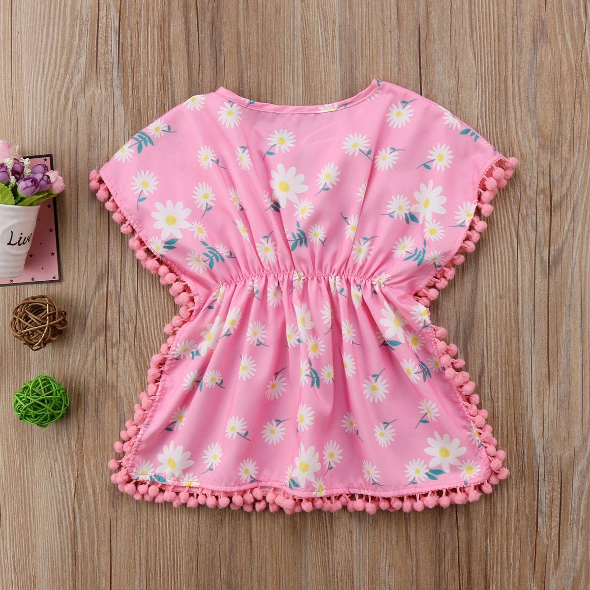 Brand New Infants Toddlers Floral Pom Pom Beach Sundress Sizes 6m 4t Baby Girl Frock Designs Cotton Baby Girl Frock Design Baby Frocks Designs [ 1200 x 1200 Pixel ]