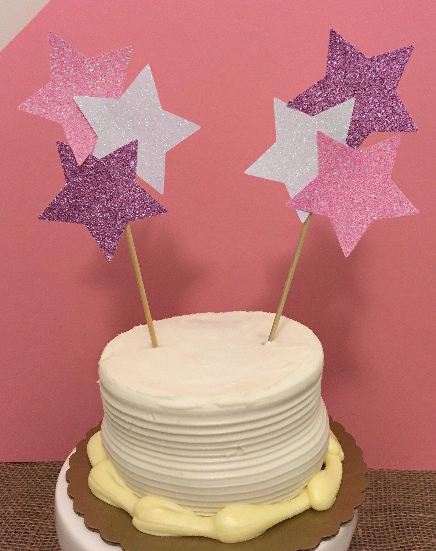 Glitter star cake topper set of by ellebelledesignshop on etsy