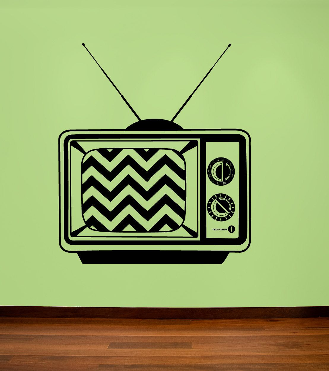 Retro television decal with chevron screen old TV by RadRaspberry, $25.00