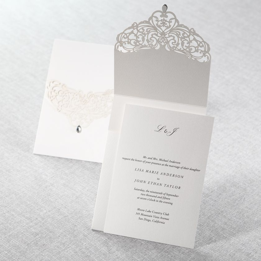 Jeweled White Lasercut Pocket Wedding Invitations Wedding