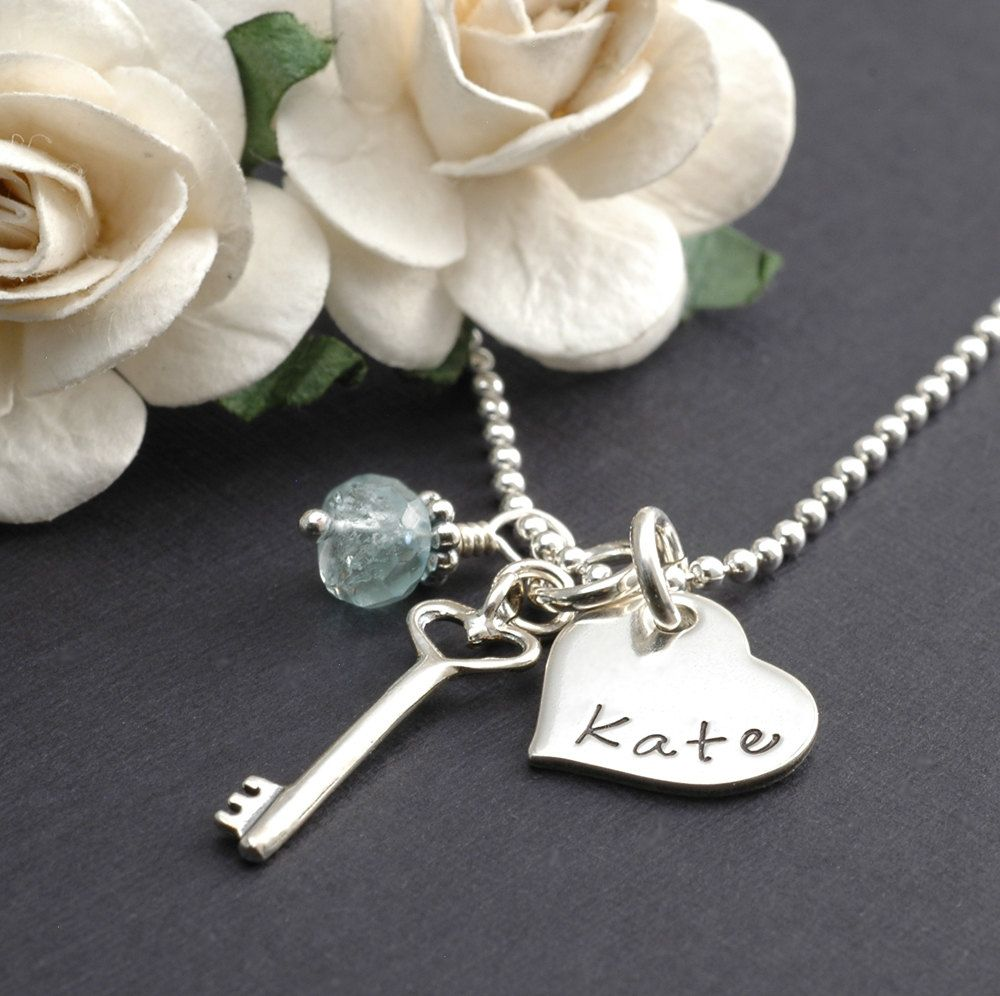 Heart and Key charm with personalized name or initial - plus a birthstone gemstone.