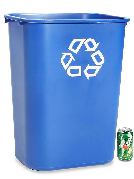 Rubbermaid Office Recycling Container 10 Gallon Blue H 1859blu Uline Recycling Containers Recycled Plastic Recycling