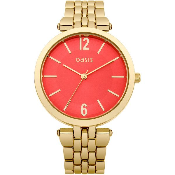 OASIS Gold Orange Dial Watch ($88) ❤ liked on Polyvore featuring jewelry, watches, accessories, bracelets, orange, metallics, gold watches, yellow gold jewelry, orange dial watches and yellow gold bracelet