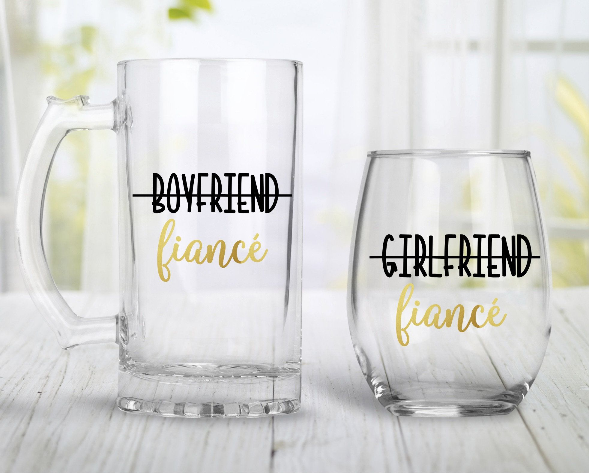 Engagement gift for couples engagement wine glass