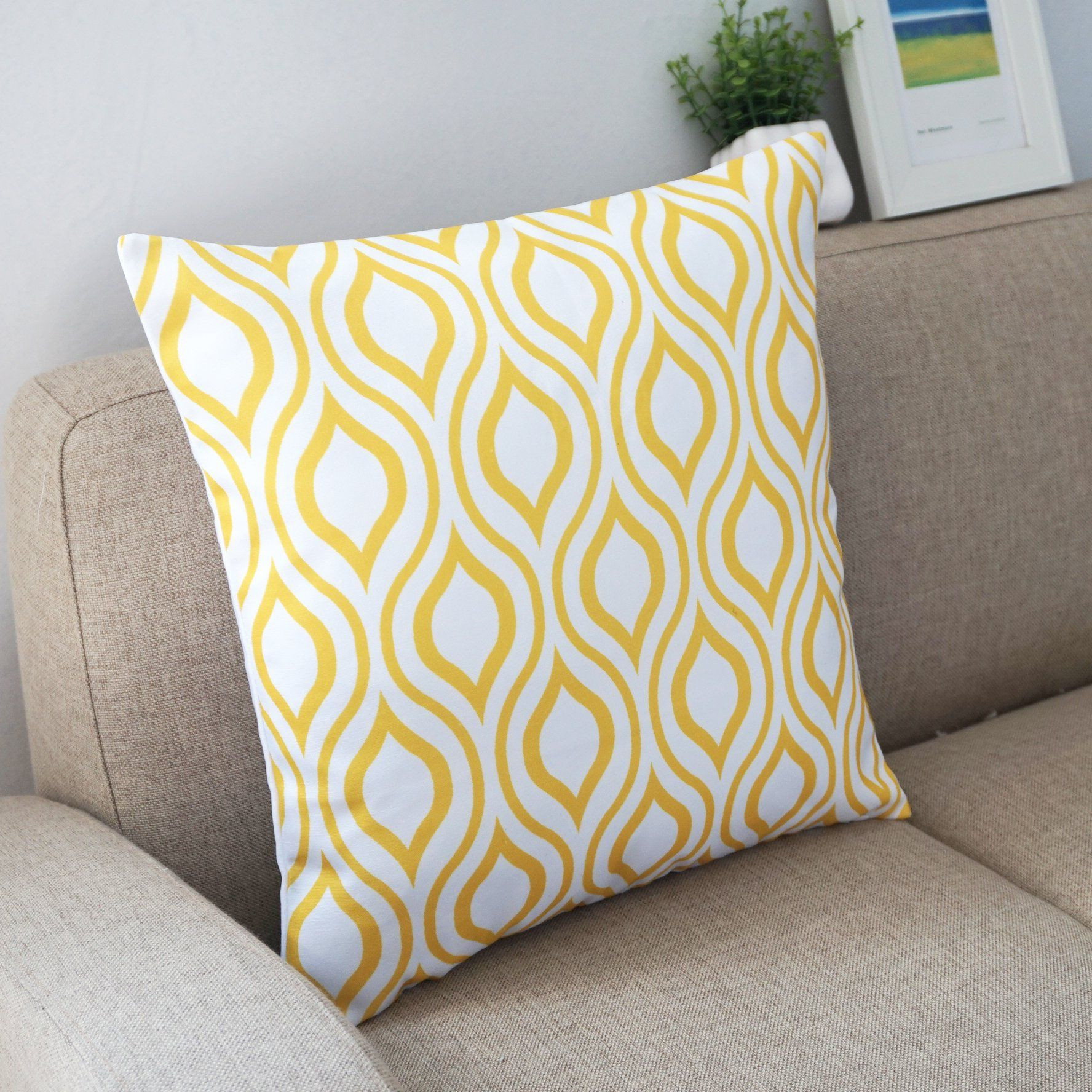 Howarmer canvas cotton throw pillows cover for couch set of lemon