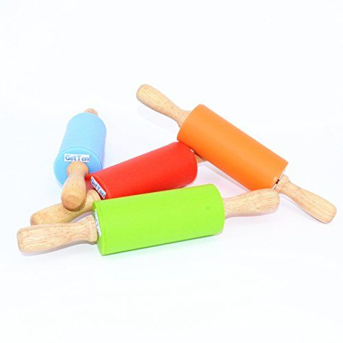 GetTen 1 PCS Silicone Rolling Pin Nonstick Surface Wooden Handle  Color random ** Find out more about the great product at the image link.