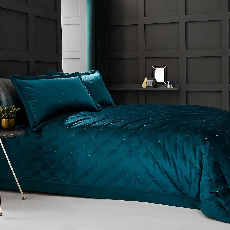 Valentina Velvet Teal Bedspread Bedding Teal Bedspread