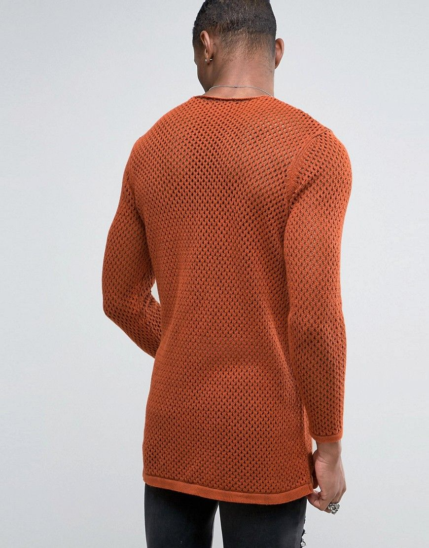 ASOS TALL Longline Knitted Textured Mesh Sweater in Rust - Orange