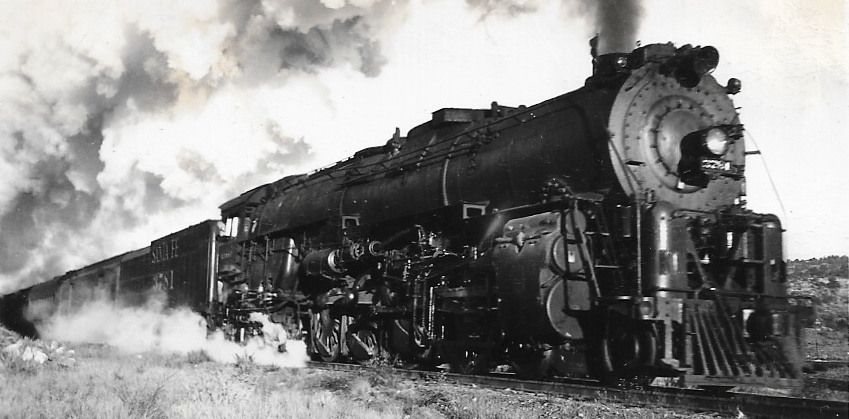 /'43 ATCHISON TOPEKA SANTA FE STEAM LOCOMOTIVE RAILROAD TRAIN PHOTO AMERICAN IRON