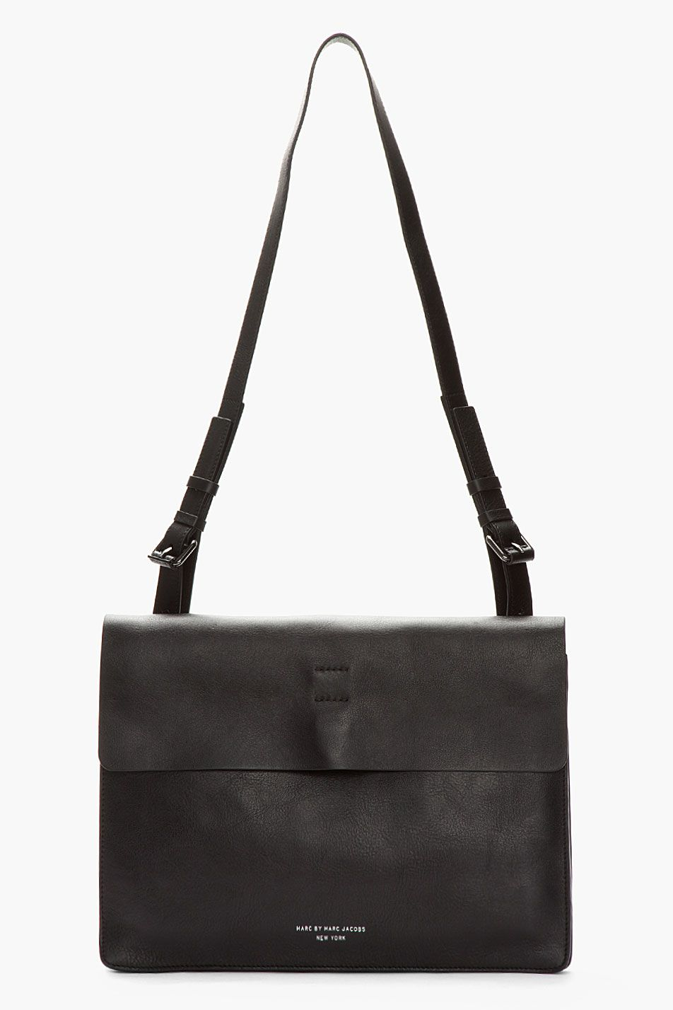 e474fe7a2 MARC BY MARC JACOBS Black Leather Werdie Boy Portfolio Messenger Bag ...