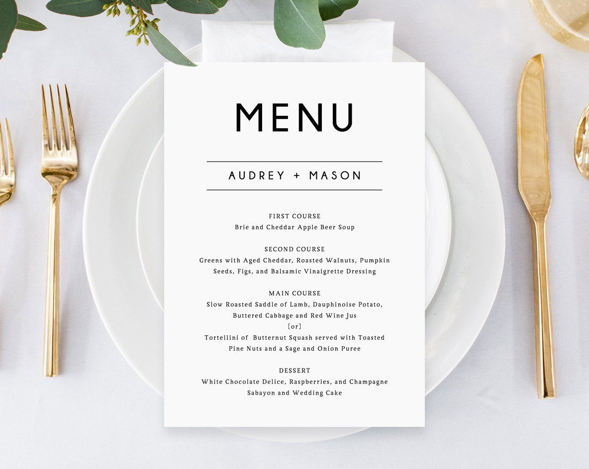 Wedding Menu Template Printable Wedding Menu Minimalist Wedding Menu Simple Wedding Menu Diy Menu Instant Download Templett W25 Printable Wedding Menu Simple Wedding Menu Wedding Menu Template