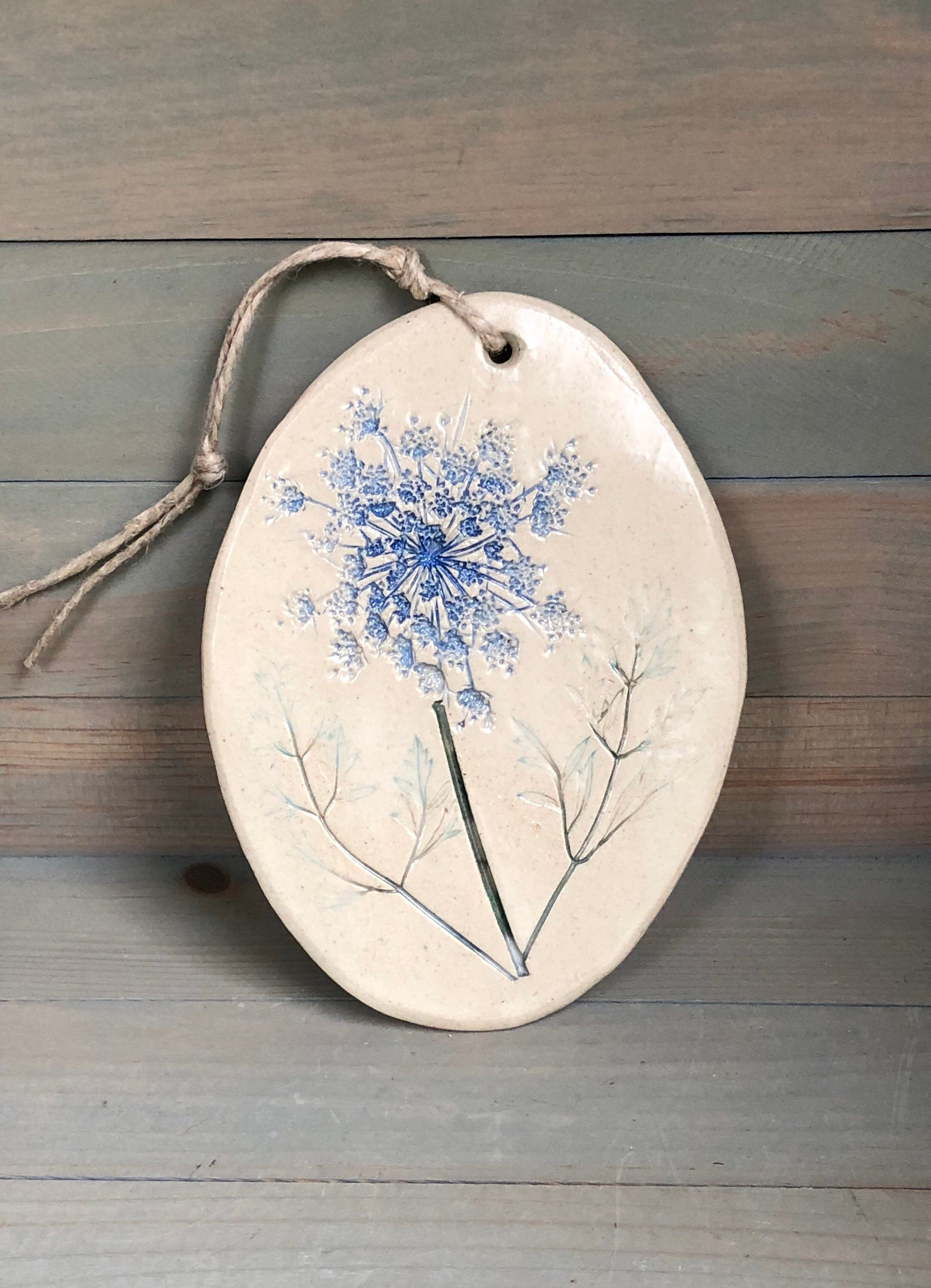 Pressed Flower Botanical Stoneware Wall Hanging #Queen Anne's Lace #botanicalceramics
